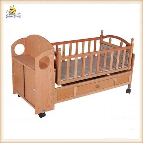 cheap automatic swing wooden baby cribs mobile portable