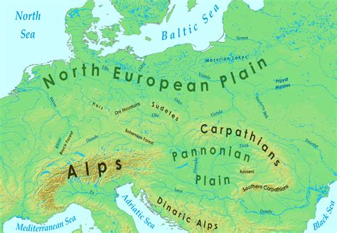 physical map of central europe europe physical map quotes