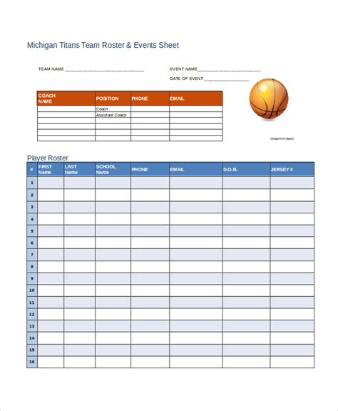 sports team roster template roster template 8 free word excel pdf document