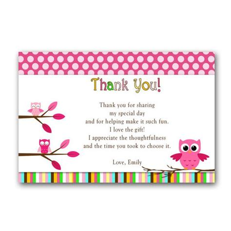 Baby Shower Thank You Speech by Owl Thank You Card Note Pink Birthday Or Baby