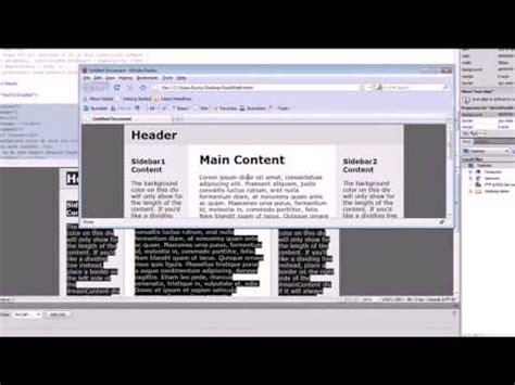 tutorial dreamweaver cs4 beginners dreamweaver cs4 tutorial 18 fixed vs liquid youtube
