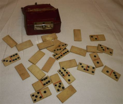 Handmade Dominoes - antique ivory handmade bone miniature portable dominoes