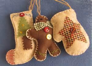 country christmas felt and fabric ornament set via