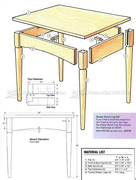 Shaker Bench Plans ? WoodArchivist