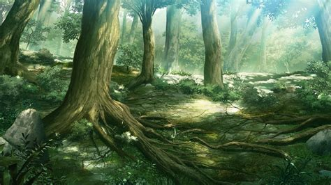 Gamis Naura anime forest background wallpaper