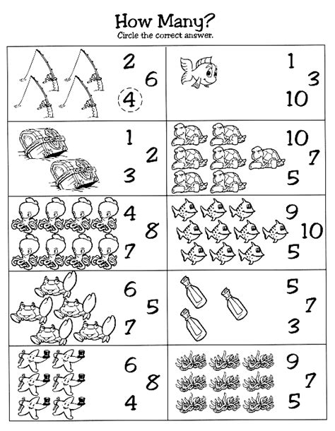 Ocean themed counting page | Preschool math, Numbers