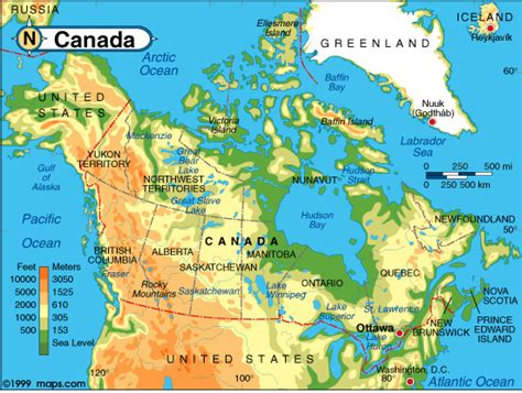 map of canada physical physical map of us and canada