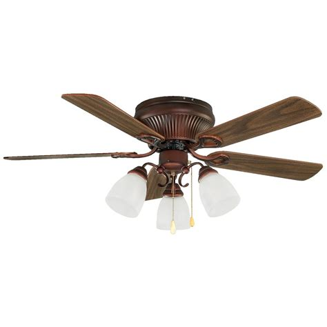 5 Light Ceiling Fan Shop Canarm Malibu 42 In Antique Copper Flush Mount Indoor Ceiling Fan With Light Kit 5 Blade