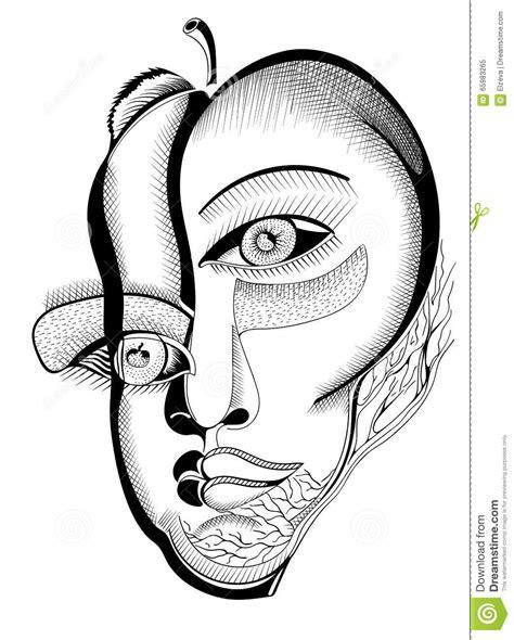 imagenes caras surrealistas caras surrealistas del dibujo de la mano ilustraci 243 n del
