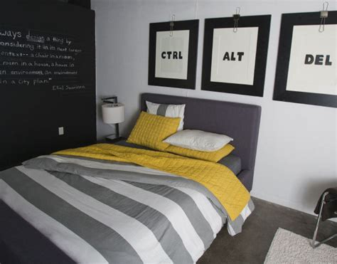black white grey and yellow bedroom at home with keith wardlaw ink