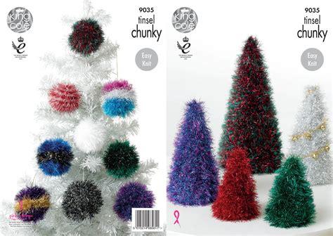 tinsel christmas tree knitting pattern king cole 9035 knitting pattern tinsel chunky christmas