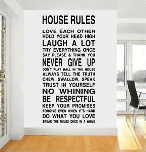 house family home rules quote wall stickers art dining room removable decals diy ebay