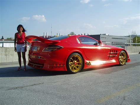 mercedes mclaren red awesome swiss tuned mercedes mclaren slr 999 red gold