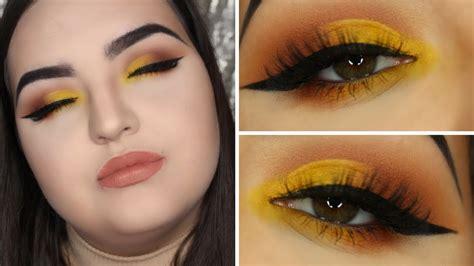 Valege Eye Shadow Brown Yellow yellow half cut crease and brown smokey eye make up tutorial abh modern renaissance morphe