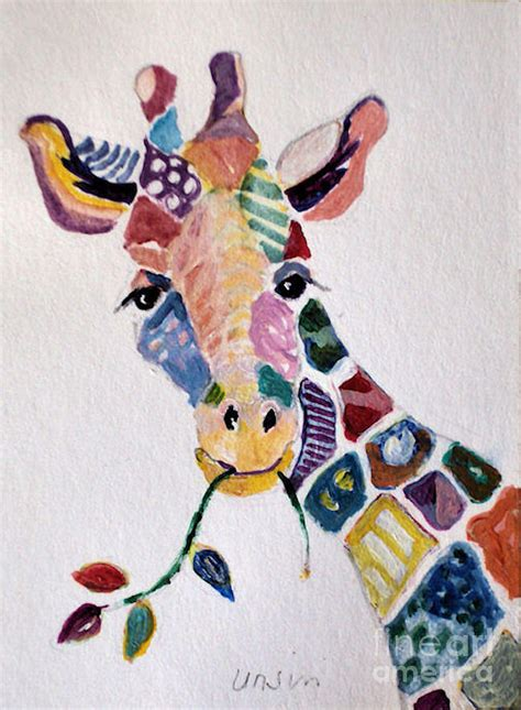 Patchwork Giraffe - patchwork giraffe painting by diane ursin