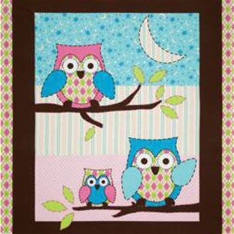 owl flannel nursery quilt panel pink from fabric