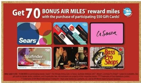 Sobeys Gift Cards - sobeys canada 70 bonus air miles when you buy select 50 gift cards canadian