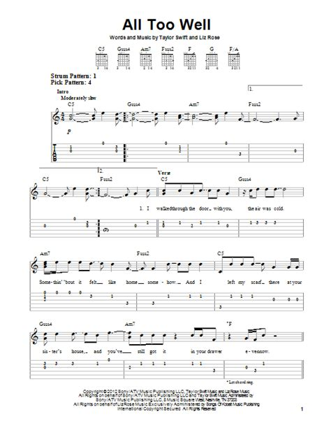taylor swift all too well piano all too well sheet music by taylor swift easy guitar tab
