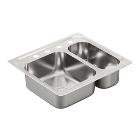Drop In Stainless Steel Kitchen Sinks by Shop Moen 2000 Series 22 In X 25 In Stainless Steel 2