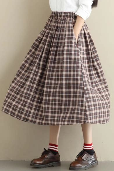 pattern for a line skirt with elastic waist pop tartan plaids pattern elastic waist midi a line skirt