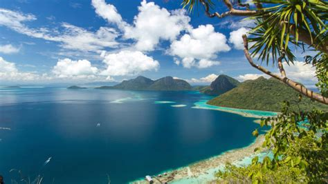 indonesia tropical islands mountain landscape wallpapers