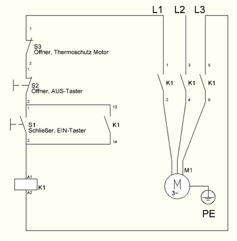 self holding contactor circuit for 3 phase motor