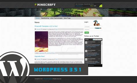 Minecraft Wordpress Template V2 10 By Jamiracraft On Deviantart Minecraft Website Template