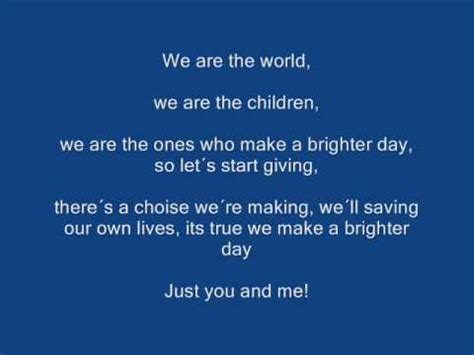 testo we are the world we are the world karaoke mit lyrics