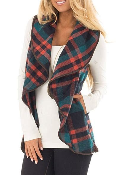 Plaid Open Front Vest s plaid waterfall open front sleeveless vest