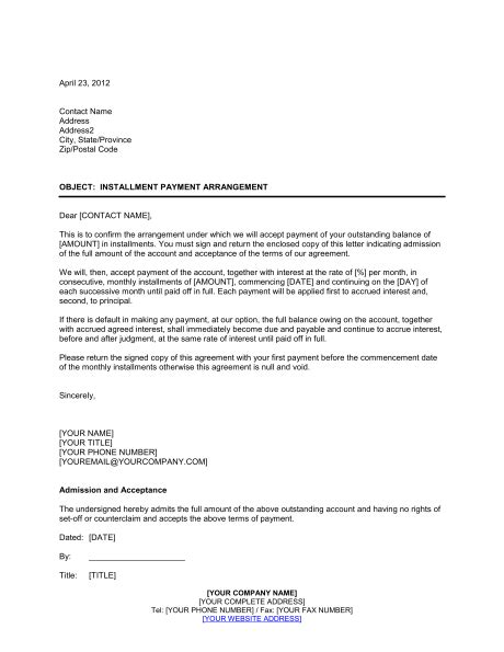 Installment Payment Agreement Template Word Pdf By Business In A Box Payment Arrangement Template