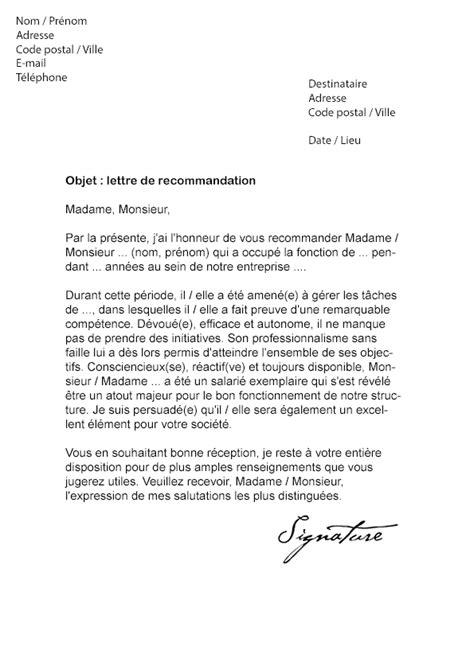 Lettre De Recommandation Commerciale Lettre De Recommandation Pour Un Emploi Mod 232 Le De Lettre