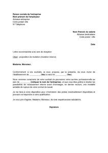 Lettre De Présentation Poste Interne Lettre De Proposition De Mutation Par L Employeur Mutation Interne Mod 232 Le De Lettre Gratuit