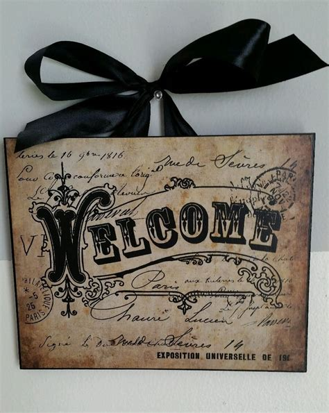 home decor signs shabby chic welcome french vintage chic wall decor sign plaque ebay