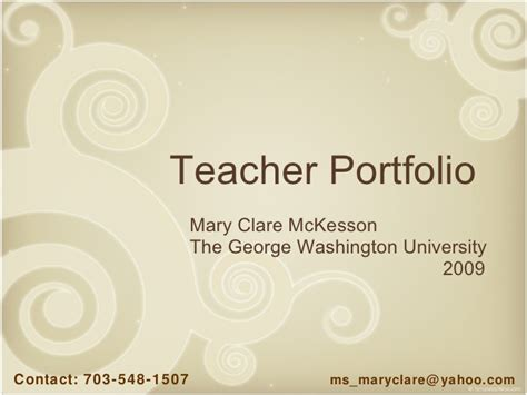 teacher portfolio cover page templates