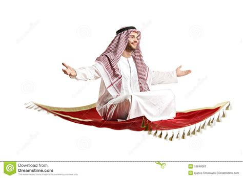 alfombra in arabic arab person sitting on a flying carpet royalty free stock