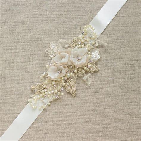 chagne bridal belt wedding dress sash floral belt sash