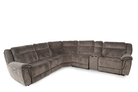 6 piece sectional sofa six piece contemporary power sectional in dove gray