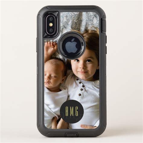 custom photo monogram otterbox defender iphone  case