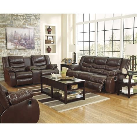 ashley furniture leather sofa set ashley linebacker 3 piece leather reclining sofa set in