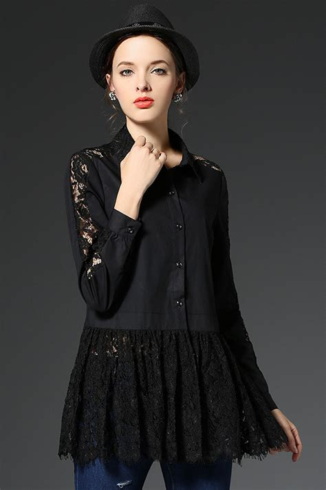 Womens Black Blouse With White Collar by Womens Black Blouse With Collar Clothing