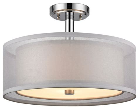 organza 3 light semi flush mount chrome modern