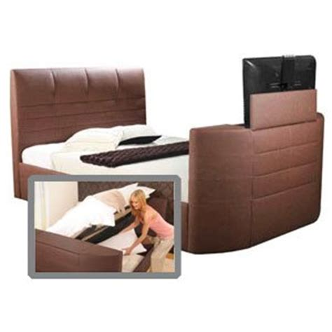 Body Impressions Miami 4ft 6 Double Leather Tv Bed With Ottoman Storage Tv Bed