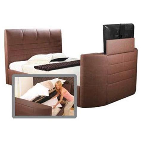 Ottoman Storage Tv Bed Impressions Miami 4ft 6 Leather Tv Bed With Ottoman Storage Black Co Uk