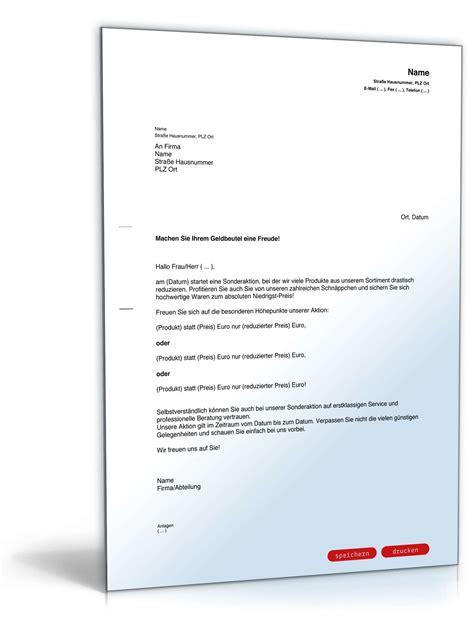 Angebot Nachfassen Musterbrief Englisch werbebrief sonderangebote vorlage zum