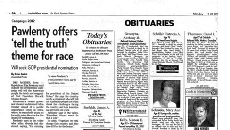 obituary section george w bush lynnrockets blast off