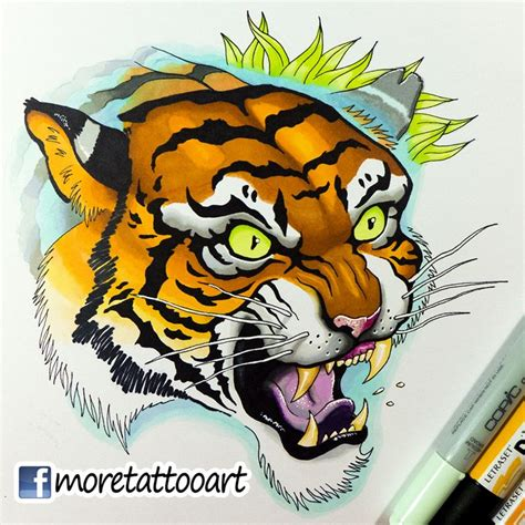 tattoo tiger new school copic markers copic and tattoo designs on pinterest