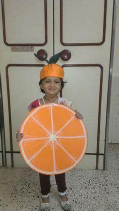 homemade orange fruit fancy dress outfit  paper kid