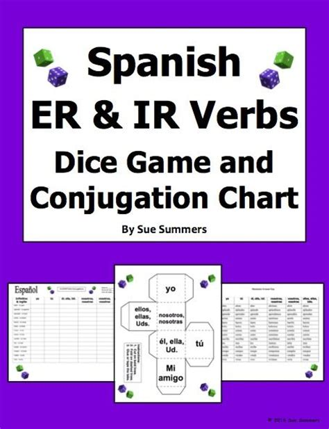printable verb dice spanish er and ir verbs dice game and conjugation chart