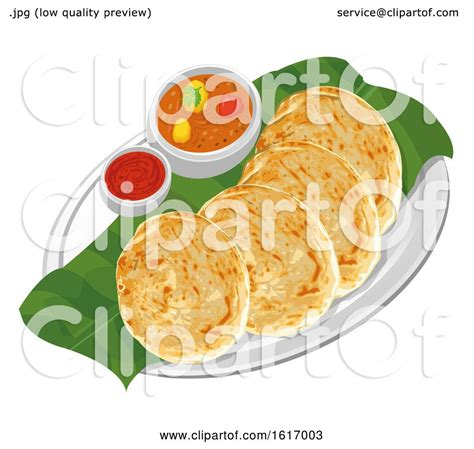 clipart  roti canai chicken curry  hot sauce