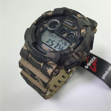 brown and green camouflage casio g shock digital